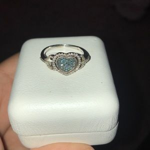 Blue topaz and diamond heart necklace and ring